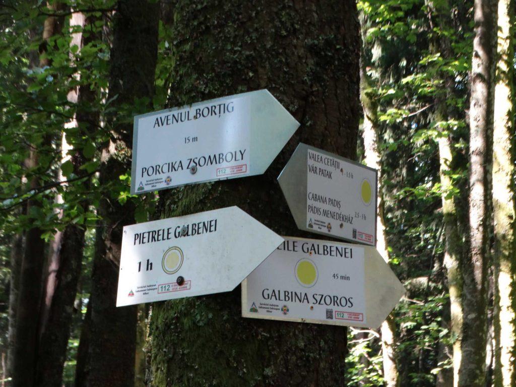 indicatoare---pietrele,-cheile-Galbenei,-avenul-Bortig,-valea-cetatii
